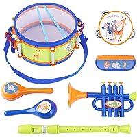 iPlay, iLearn Toddler Musical Instruments Toys, Kids Drum Set, Percussion, Tambourine, Trumpet, Maraca, Harmonica, Flute…
