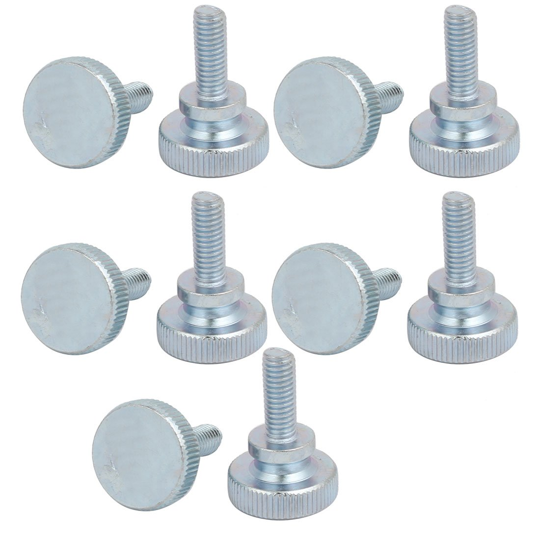 uxcell M6x16mm Carbon Steel Flat Knurled Head Fully Threaded Thumb Screw Bolt 10pcs by uxcell