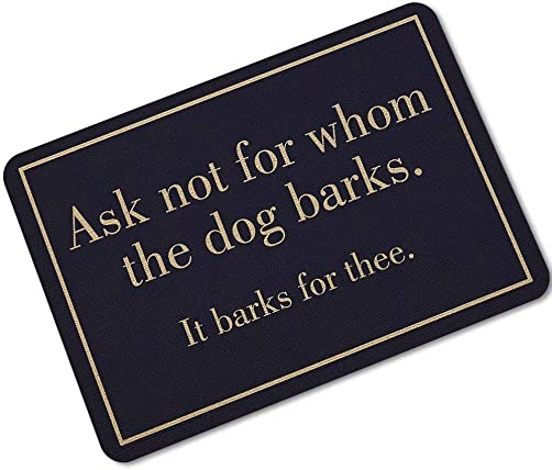 YQ Park Modern Indoor Outdoor Easy Clean Rubber Entry Way Doormat for Patio, Front Door, All Weather Exterior Doors, Ask Not for Whom The Dog Barks.Navy Dog