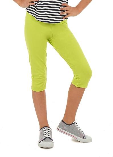 AlexFashion 3/4 Farbige Leggings für Mädchen Kurze Legings Kinder Hose Frühling Sommer Gr. 116-164