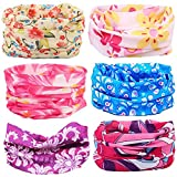 Kalily Cool Oringinal Design 6 Pack Head Band Bandana Protective Multi-use Seamless Breathable Neck and Head Tube Gaiter. Can Be Used As Neck Warmer, Headband, Bandana, Wristband, Balaclava, Headwrap. For Outdoor Activities Like Fishing Hunting Golf Campi