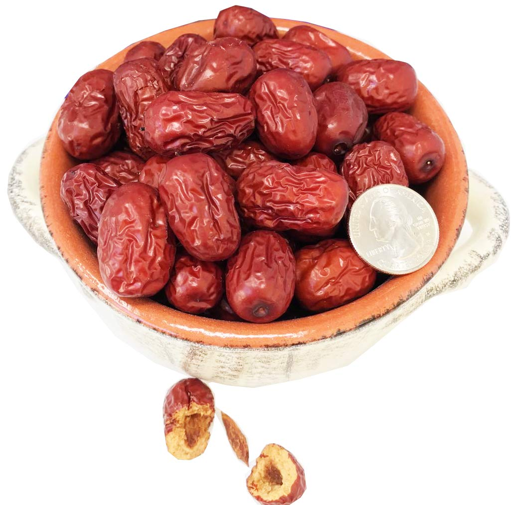 DABC OAK LANDBig Jujube Red Dates,Chinese Xinjiang Dried Dates 新疆红枣,Grocery & Gourmet Food Snack Foods Dried Fruit & Raisins Dates (1LB=453g/Bag)