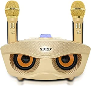 Karaoke Machine, ALPOWL Portable PA Speaker System With 2 Wireless Microphone for Home Party, Meeting, Wedding, Church, Picnic, Outdoor/Indoor [Gold owl]