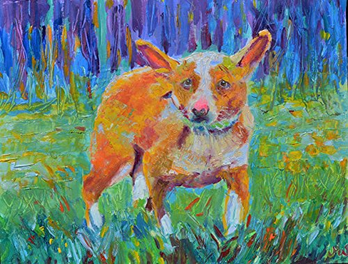 Dog Painting Pet Wall Art Small 8x10 inch Animal Portrait Original Genuine Hand Painted Impressionist Artwork