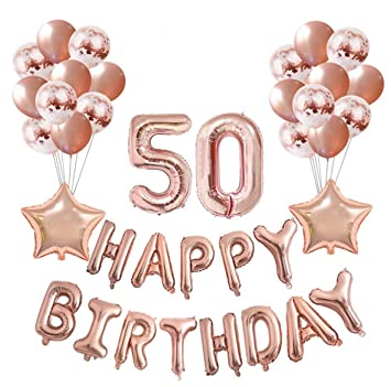 Rose Gold 50th Birthday Balloons Decoration SetBirthday Party DecorationBirthday Supplies