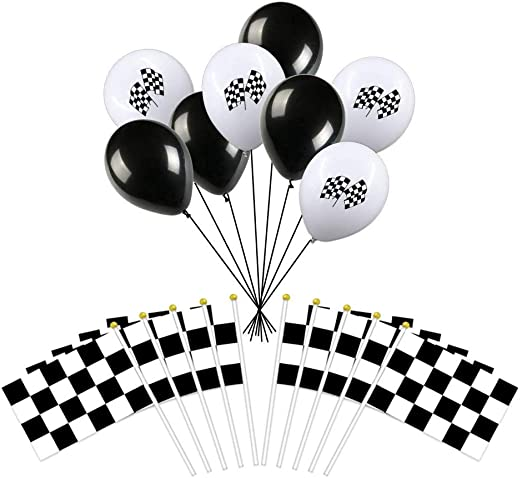 25 banderas de carreras de poliéster con palos de plástico y 20 ...