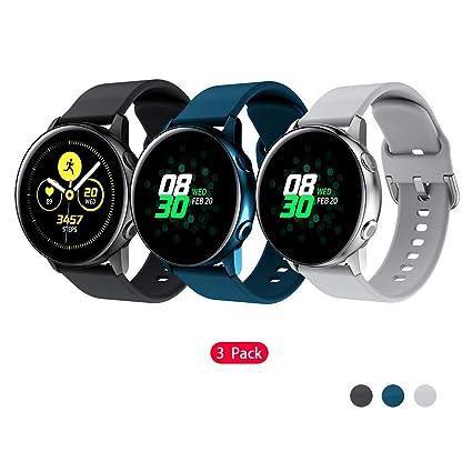 TOPsic Correa Galaxy Watch Active 40mm/Galaxy Watch 42mm Correa, 20mm Silicona Correas Banda Pulseras de Repuesto Correa para Vivoactive 3/Gear S2 ...