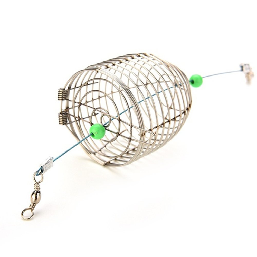 Zytree Fish Small Stainless Steel Bait Cage Basket Feeder Holder Fishing Lure Cage Fishing Accessories