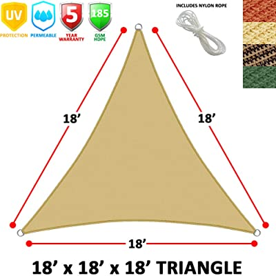 Modern Home Sail Shade Triangle (18' Sides) - Beige: Kitchen & Dining
