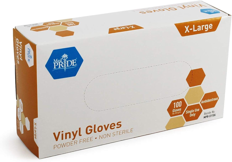 Medpride Vinyl Gloves| 4.3 mil Thick, Powder-Free, Non-Sterile, Heavy Duty Disposable Gloves| Medical, Food Handling