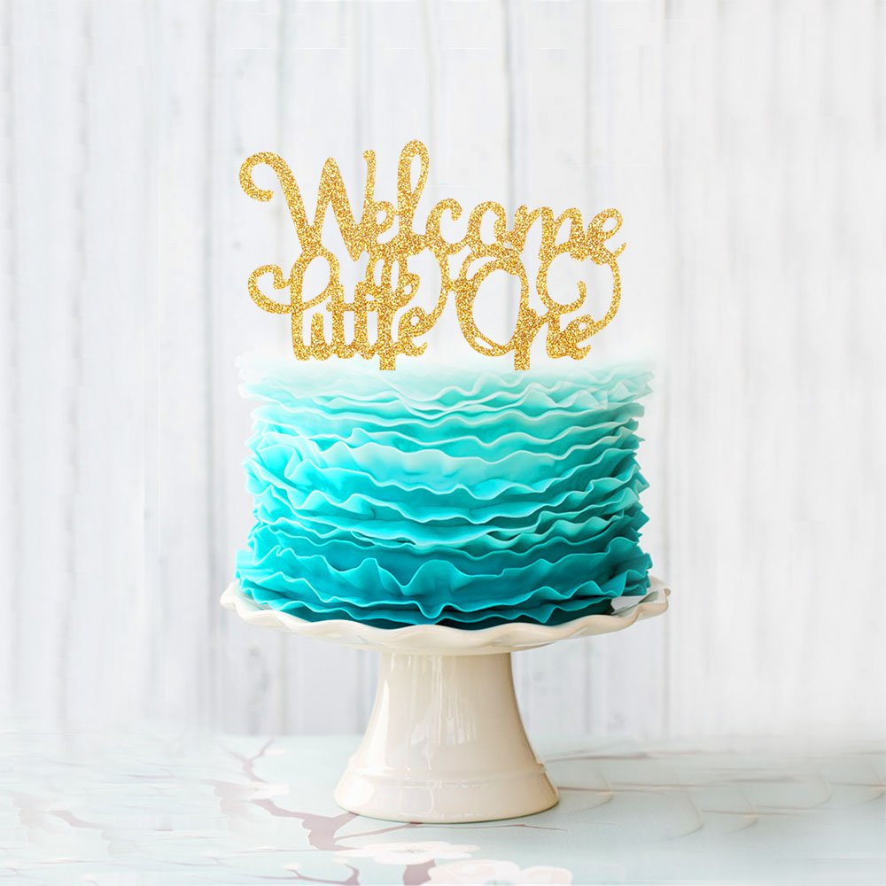 Welcome Little One Acrylic Cake Topper For 1st Baby boy girl Birthday Party Decoration supplies Gold