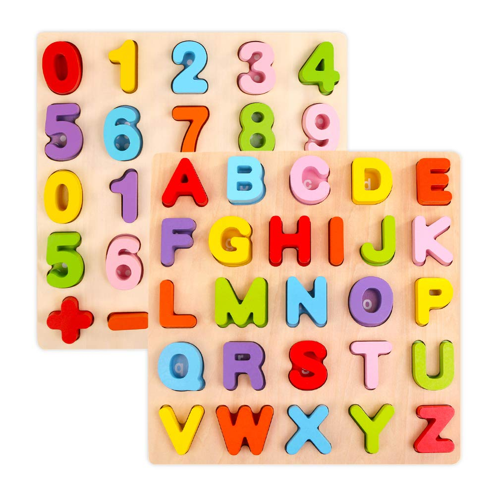 Alphabet Puzzle Set, WOOD CITY ABC Letter & Number Puzzles for Toddlers 1 2 3 Years Old, Educational Learning Toys for Kids Gift for Boys and Girls (2 Pack) by WOOD CITY