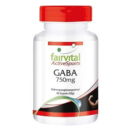 GABA 750mg - VEGANO - Altamente dosificado - 60 cápsulas - ácido gamma-aminobutírico -
