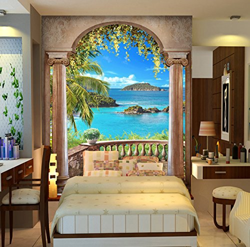 """3D Balcony Sea View 884 Wall Paper Print Decal Deco Indoor Wall Mural Self-Adhesive Wallpaper AJ Wallpaper US Carly (Woven Paper (Need Glue), 【87""""x123""""】 ()"""