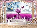 LWCX Custom mural 3d wallpaper Lavender hot air balloon Rome balcony painting 3d wall murals wallpaper for living room walls 3d 430X280CM