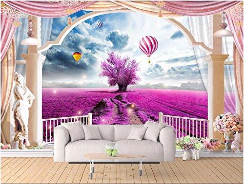 LWCX Custom mural 3d wallpaper Lavender hot air balloon Rome balcony ...