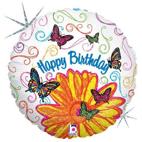 Happy Butterfly Birthday Balloons (Happy Birthday Holographic Butterfly 18