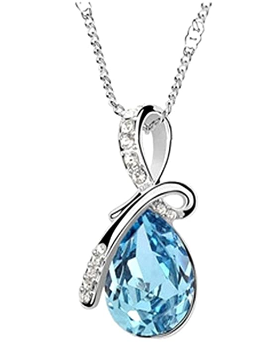 Glitz Womens Crystal Collection Silver-Plated Teardrop Pendant Necklace <span at amazon