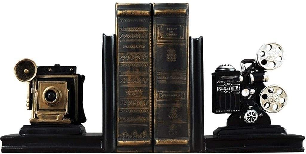 ZJHCC Vintage Film Movie Projector Bookends Creative Resin Camera Black Silver Art Book Stand Holder Office Book Rack Collector's Items