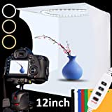 Photo Studio Light Box Kit, 12inch x 12inch Photography Adjustable Light Box with 80pcs SMD LED Beads, Portable Photo Shooting Tent with White Light Warm Light and 6 Color Background (Tamaño: 30cm Adjustable Light)