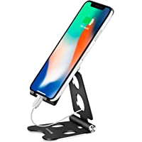 Adjustable Cell Phone Stand Desktop Mobile Phone Mounts,Portable Aluminum Phone Holder with Anti-Slip Base for iPhone XR…