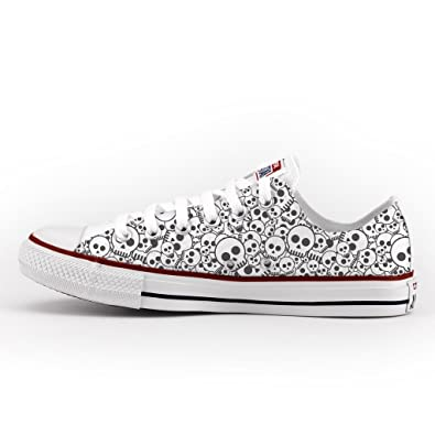 0f91474cb2b0 Converse All Star Low Customized and Printed - handmade shoes - Italian  Brand - Skull  Amazon.co.uk  Shoes   Bags