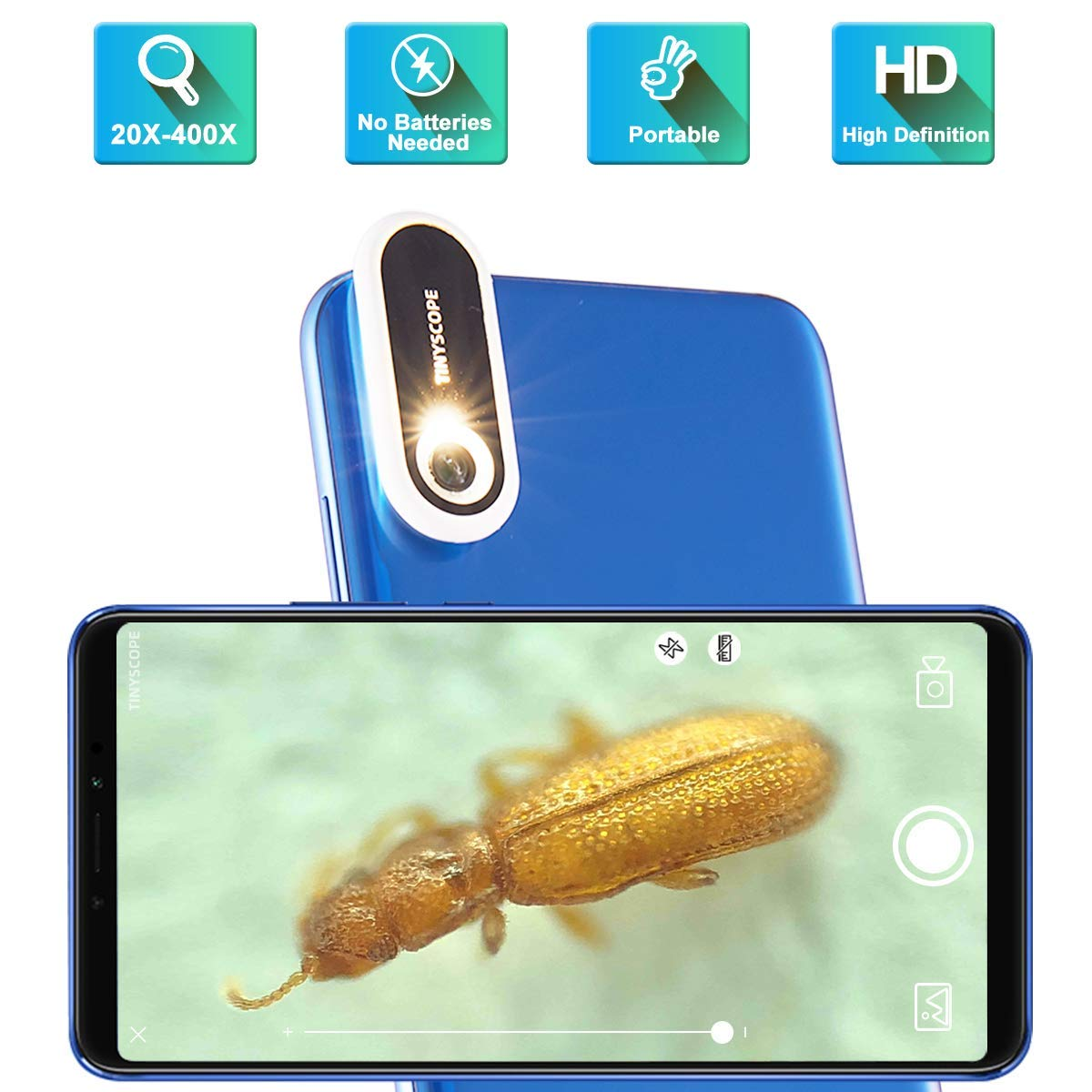 TINYSCOPE Mobile Microscope, 20 to 400x Magnification, Turn Your Cell Phone into a Portable Microscope in Seconds, with No Need for Batteries, Power Cords, or USB Cables. by TINYSCOPE