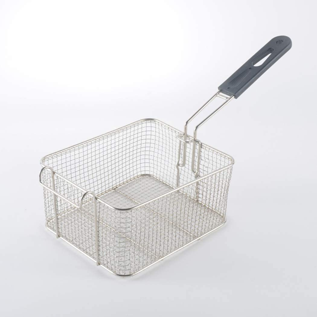 Mesh Fry Basket, Square Stainless Steel Deep Fryer Basket with Detachable Plastic Handle