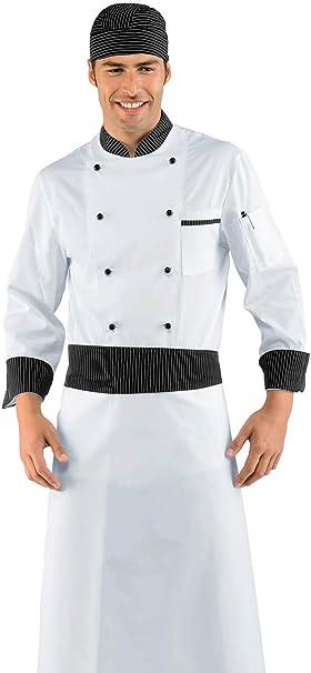 Isacco-Chaqueta Jefe cocinero vienna blanco y negro, 100% algodón