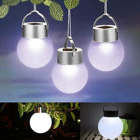 Sweet48 - Lámpara Solar Decorativa para jardín, Impermeable, Luces LED solares para Exteriores, jardín, Fiesta, Ambiente, Blanco y Plateado, Tamaño Libre: Amazon.es: Hogar