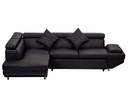 Superbe Modern Contemporary Leather Sectional Corner Sofa With Functional Armrest  Left