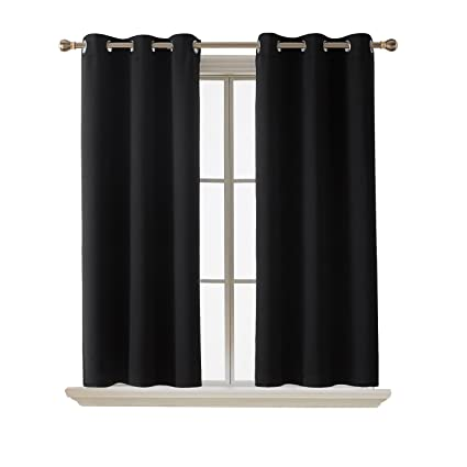 Deconovo Room Darkening Thermal Insulated Grommet Window Blackout Curtains  Living Room Curtain 2 Panels Pair Black