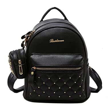 03499c14b3 Lady Faux Leather Bag Mini Backpack for Teenagers School Travel Rucksack  (Black)