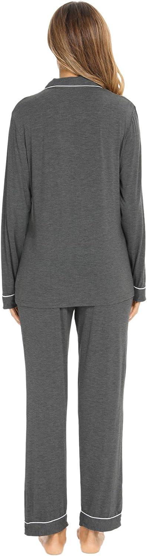 SWOMOG Womens Pajamas Set Long Sleeve Sleepwear Button Down Nightwear Soft Pj Lounge Sets