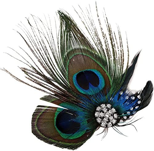 Proud Teal Peacock Feltie Hair Clip Embroidered Bird on Ribbon Lined Alligator Clip Zoo Aviary Hair Accessory