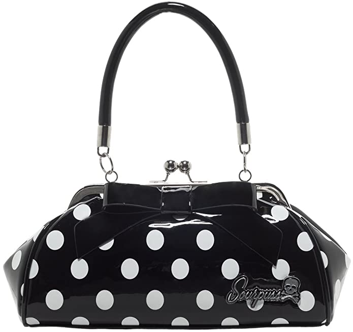 1950s Rockabilly & Pinup Tops, Shirts, Blouses Sourpuss Floozy Purse Black & White Polka Dots $48.95 AT vintagedancer.com
