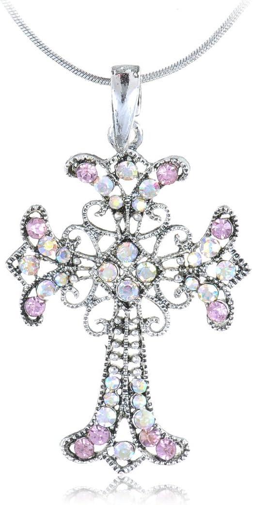 Pink Rhinestone Pendant Necklace Vintage