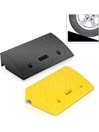 Pyle Portable Lightweight Curb Ramps - 2 Pack Heavy Duty Plastic Threshold Ramp Kit Set - for Driveway, Loading Dock...