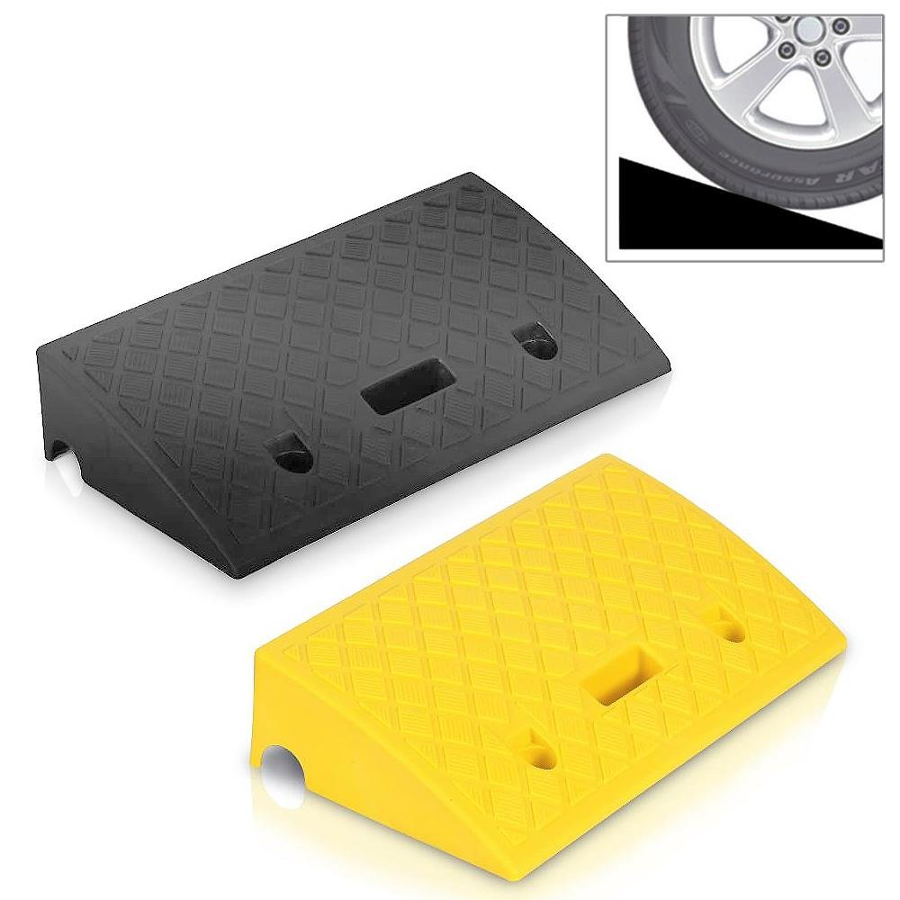 Pyle Portable Lightweight Curb Ramps - 2 Pack Heavy Duty Plastic Threshold Ramp Kit Set - for Driveway, Loading Dock, Sidewalk, Car, Truck, Scooter, Bike, Motorcycle & Wheelchair Mobility - PCRBDR27