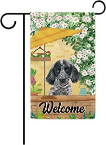 BAGEYOU Welcome Summer Dog Garden Flag Lovely English Setter Playing in The Yard Gardening Floral Plants Sunshade Spring Decor Home Banner for Outside 12.5x18 Inch Print Both Sides