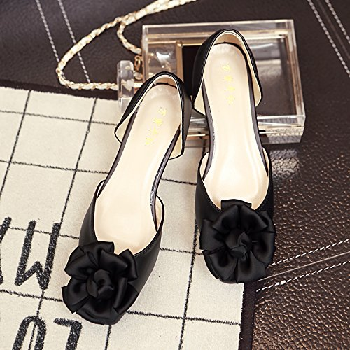 Zapatos Boca Flores Zapatos Sat la Zapatos de Corte Qiqi Planos Cuadrados Planos Zapatos de Hueco Xue Baja 7qRF4xww