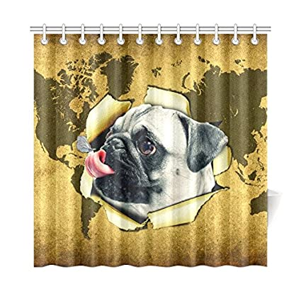 InterestPrint casa baño decoración Cortina de Ducha de Mapa del Mundo Divertido Perro Mariposa Hooks-
