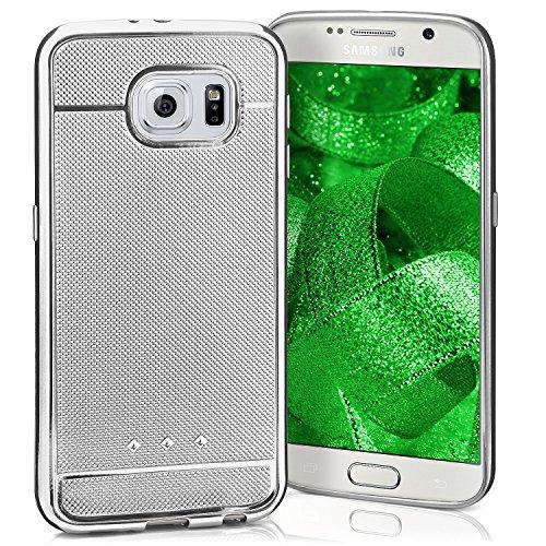 Glossy Case für Samsung Galaxy S6 | Silikon Hülle mit Chrom-Metallic Effekt | Dünne Handy Schutz Tasche von OneFlow | Back Cover in Silber