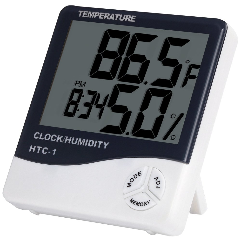 Anpro Digital Indoor Temperature and Humidity Meter with Alarm Clock, LCD Hygrometer Thermometer Monitor for Home, Office