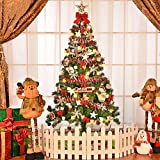 Christmas Tree with Lights 5ft Artificial Christmas Tree with Pentagram On Top Merry Christmas Alphabet Bow Decorative Festival Miniature Tree, Shipped from US !!! 1PC