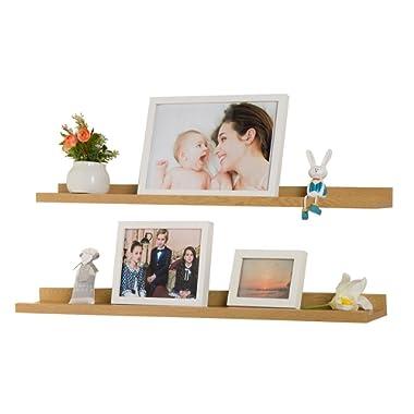 O&K Furniture Set of 2 Picture Display Wall Ledge Shelf, Floating Shelves for Home Decoration (Oak, 31.5  Length )