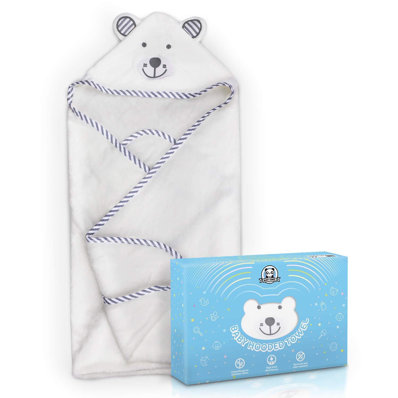Asciugamano da Bagno Bambini, Loori Asciugamano con Cappuccio - 100% Asciugamano in Fibra di Bambù per Bambini - 90 cm * 90 cm - Neonati o Bambini Maschi e Femmine (Orso)