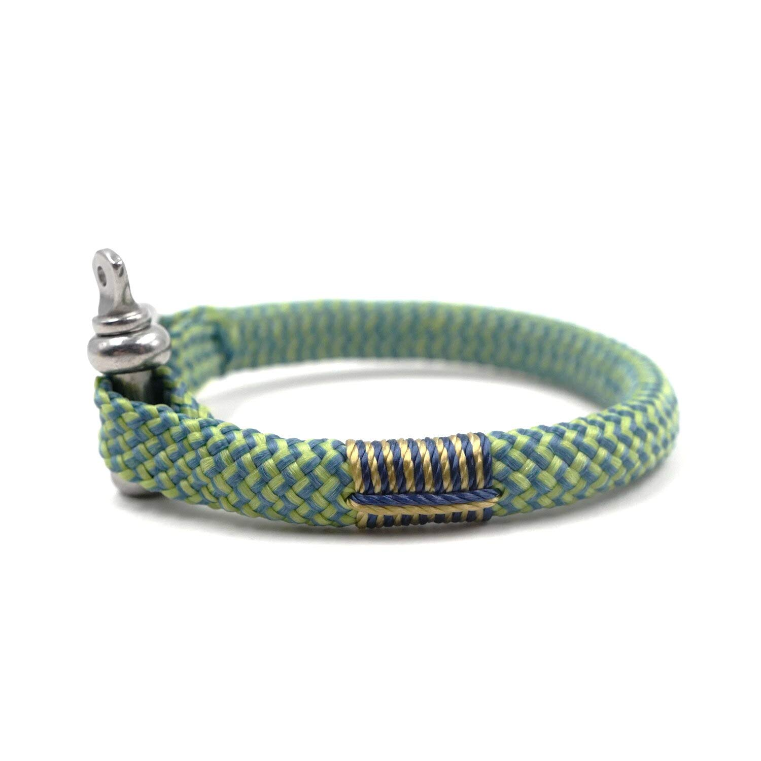 TTHER Black Green BRT-N527 Hand-Made Nautical Braided Bracelet Yachting Rope Military Paracord Bracelet Wristband with D-Shackle Nautical Rope Fence by TTHER