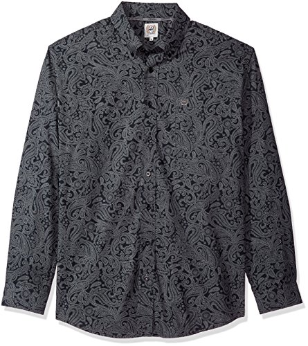 Cinch Men's Classic Fit Long Sleeve Button One Open Pocket Print Shirt, Black Paisley, Medium