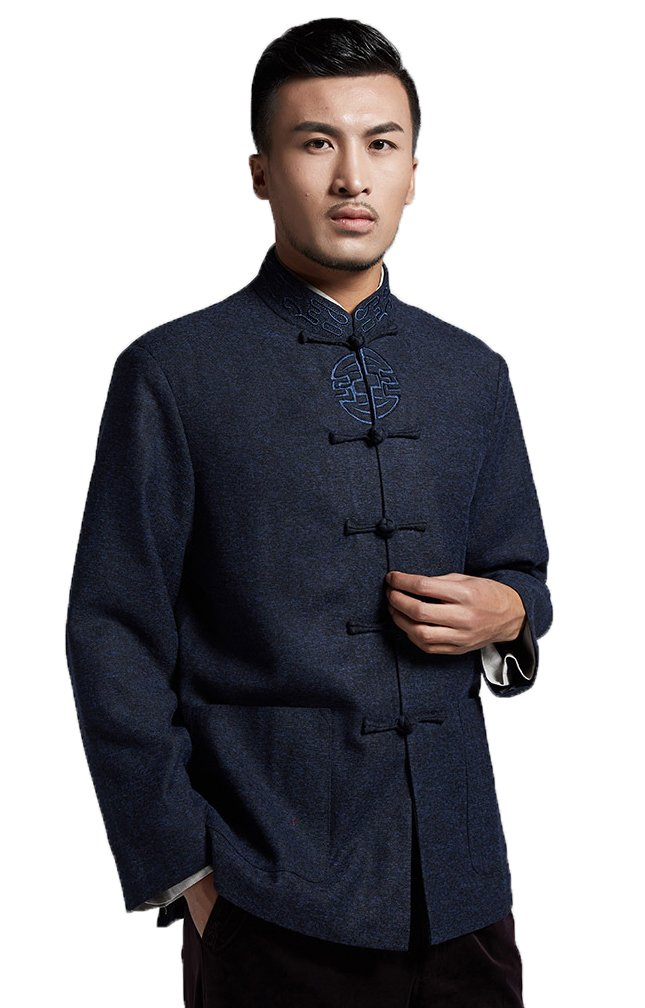 ezShe Mens Traditional Chinese Jacket Mandarin Collar Formal Outerwear, Navy M